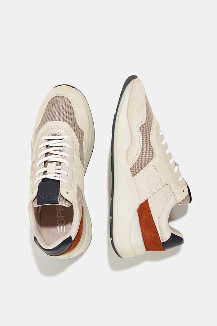 Lace-up shoes in a material mix, LIGHT BEIGE, detail image number 1