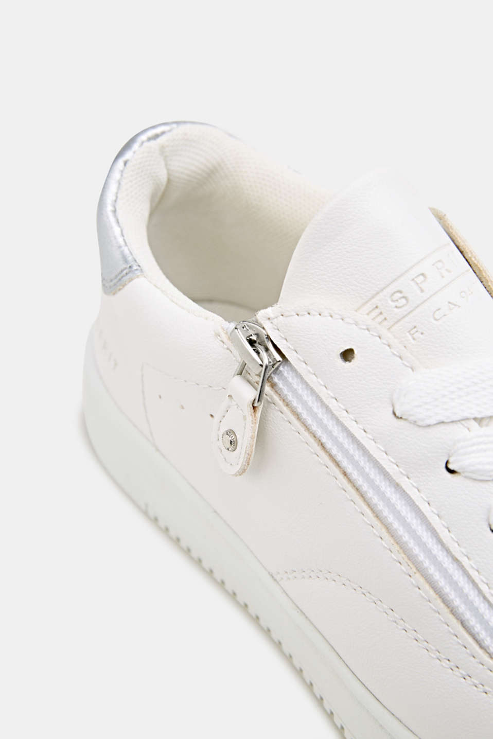 Faux leather trainers, WHITE, detail image number 3