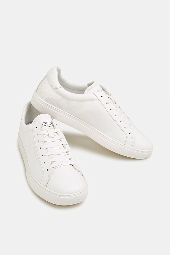 Faux leather trainers, WHITE, detail image number 5
