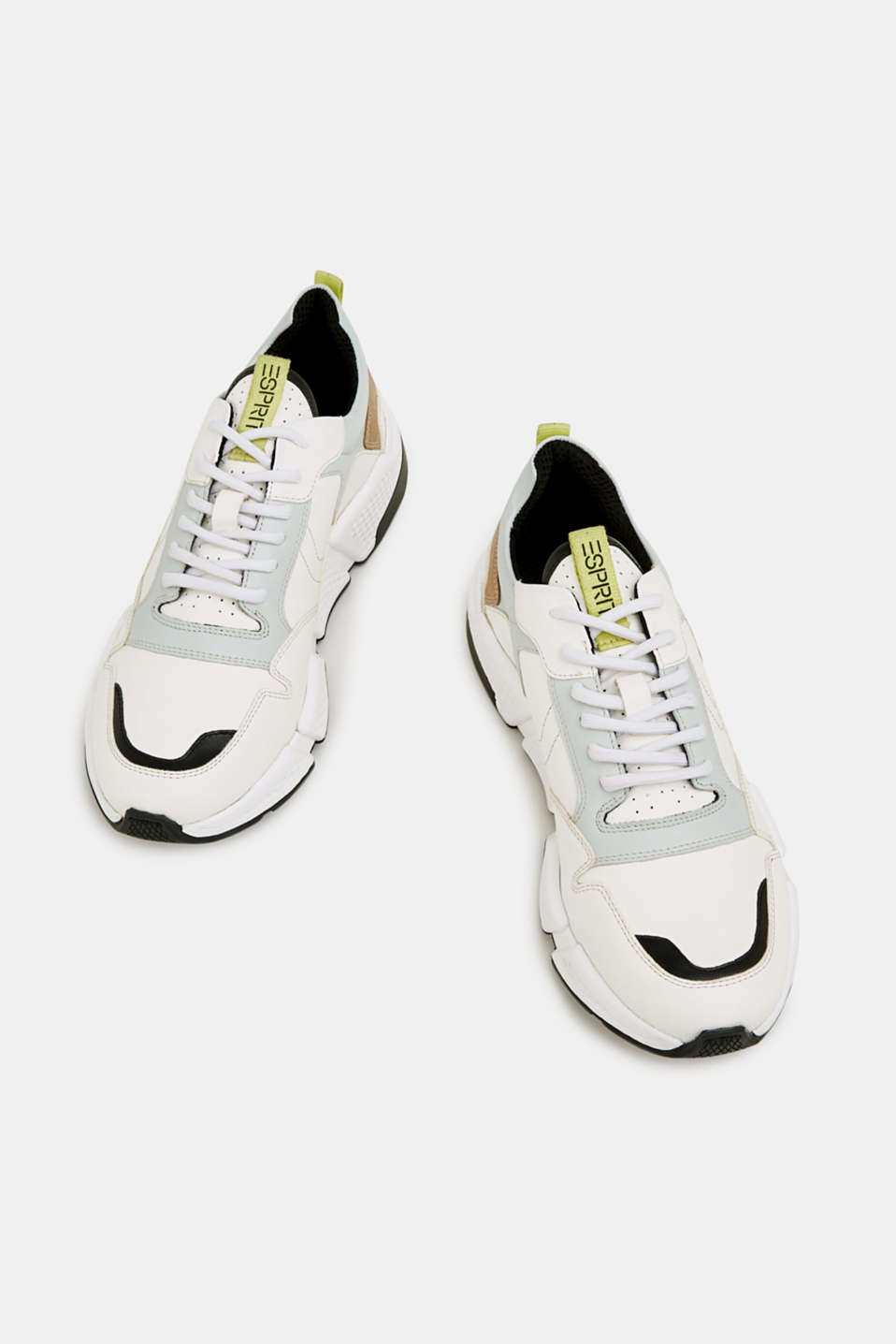 Chunky leather trainers, WHITE, detail image number 1