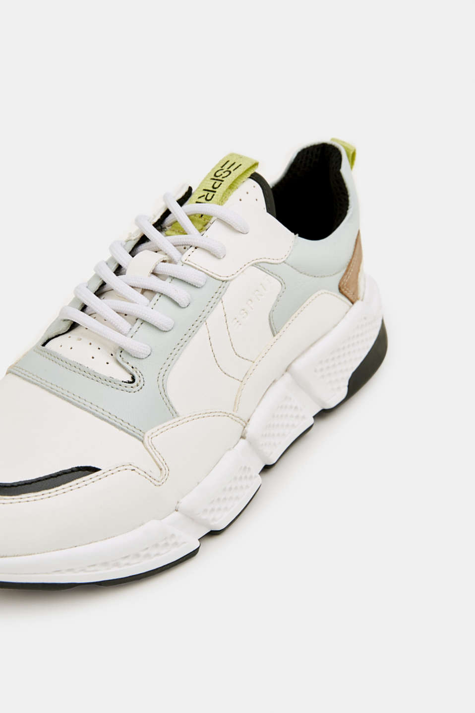 Chunky leather trainers, WHITE, detail image number 4