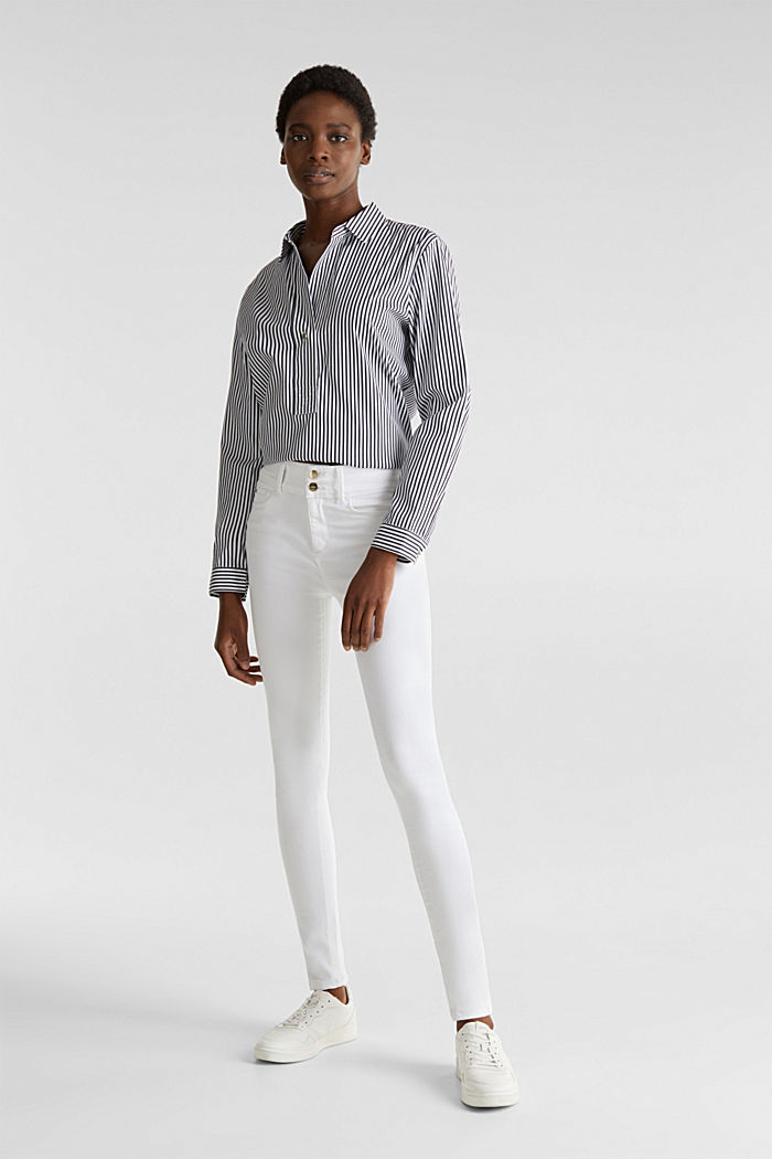 Shaping jeans met dubbele knoop, WHITE, detail image number 0