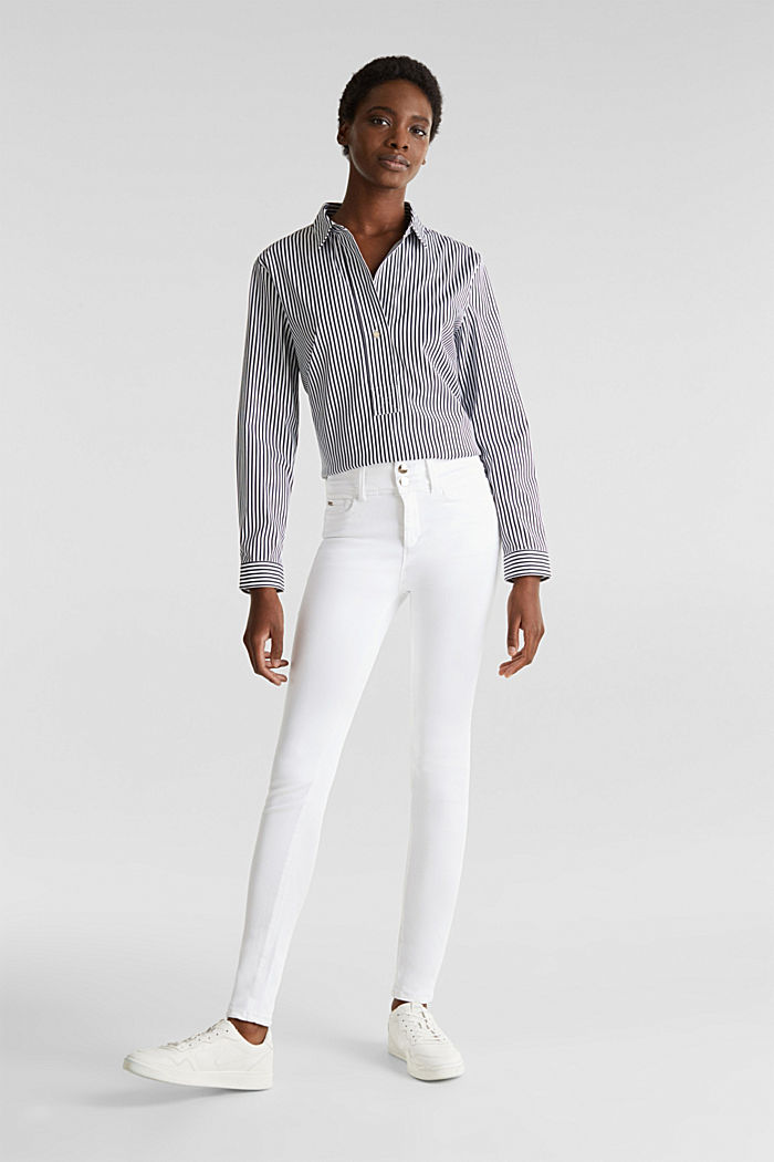 Shaping jeans met dubbele knoop, WHITE, detail image number 1
