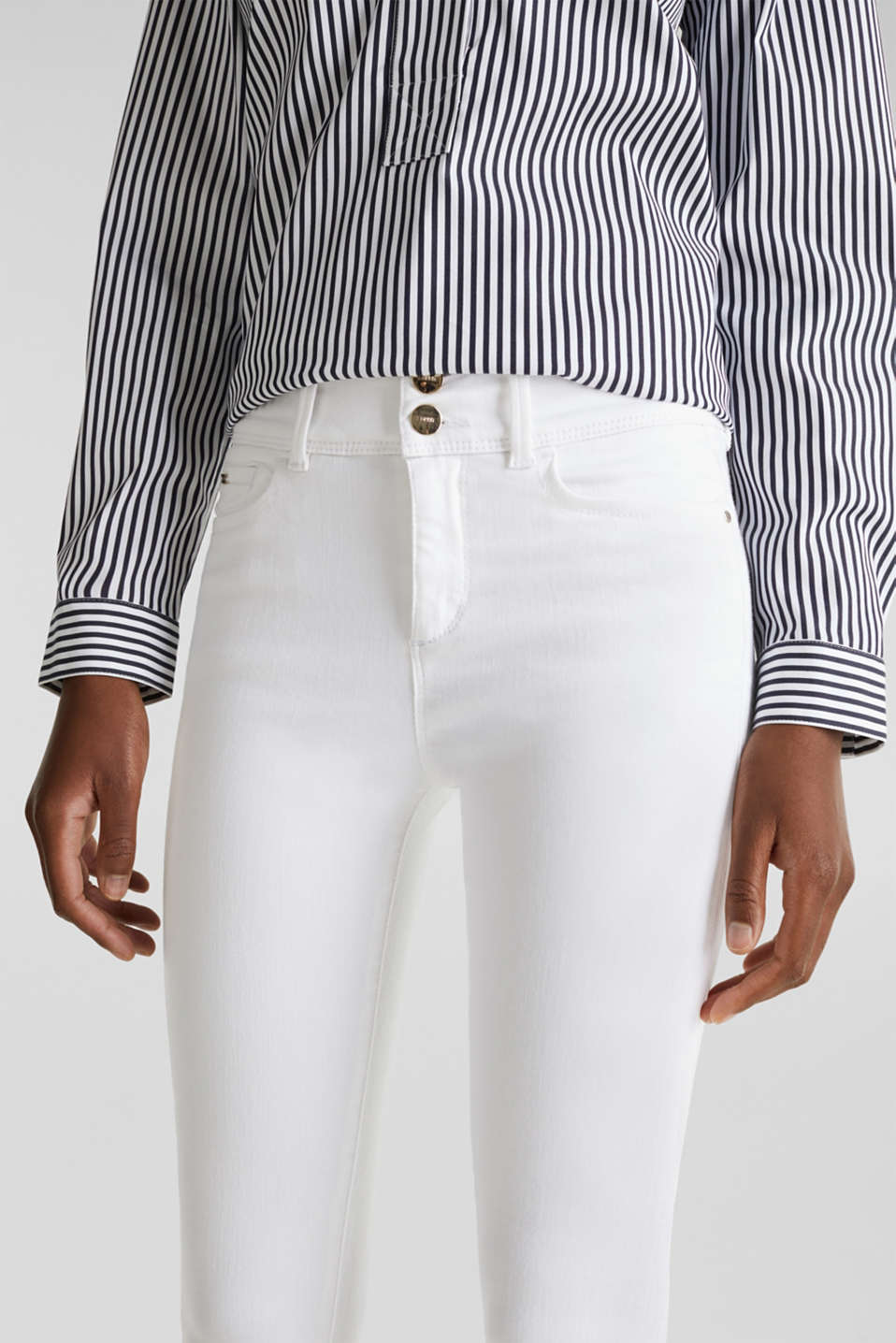Shaping jeans in a double button design, WHITE, detail image number 2