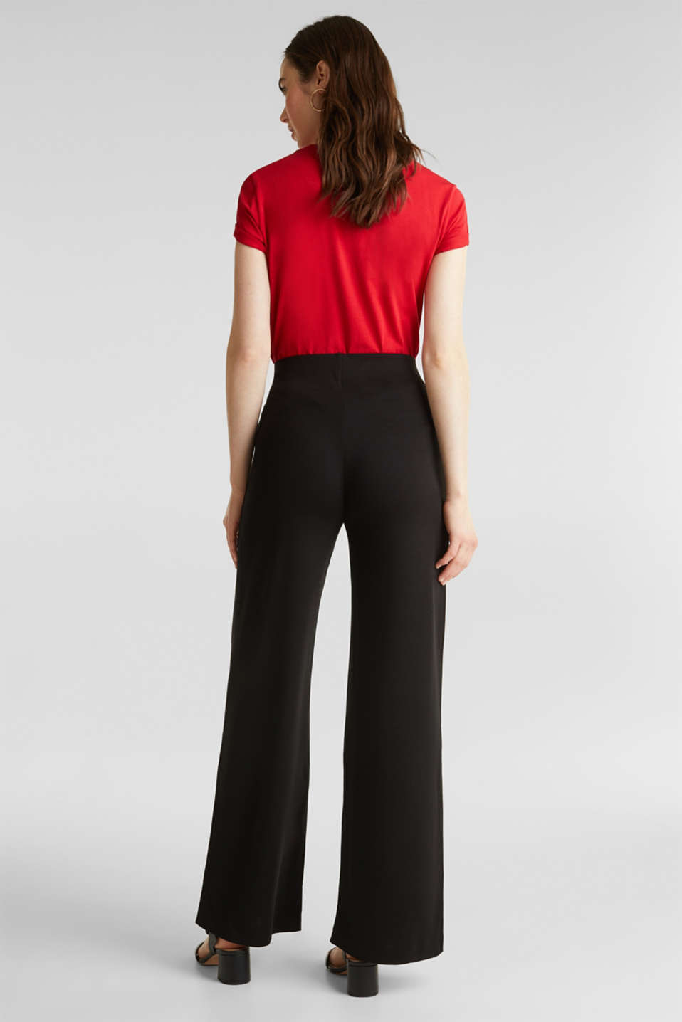 Jersey trousers with a wide leg, BLACK, detail image number 3