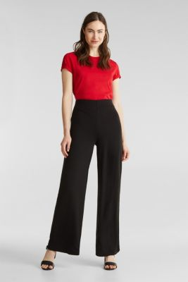 Jersey trousers with a wide leg, BLACK, detail