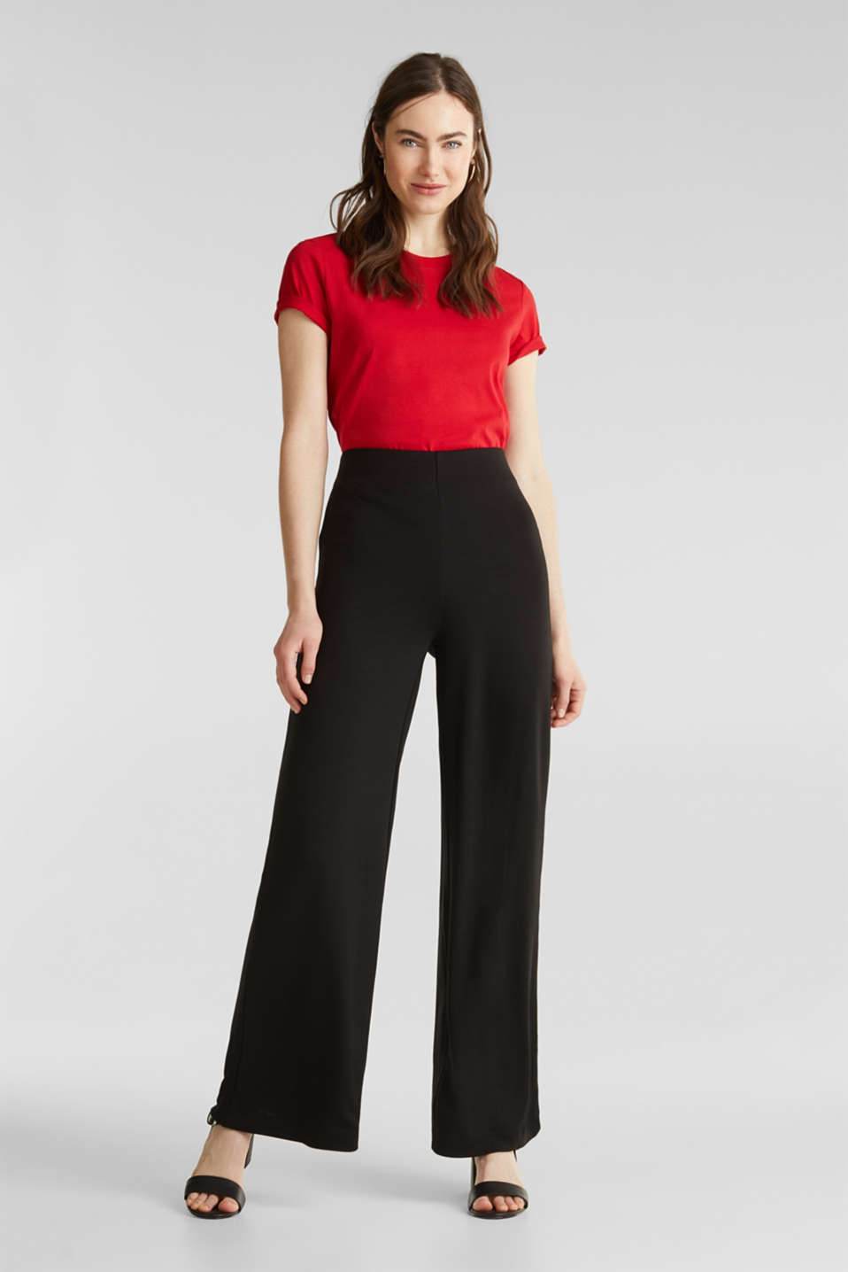 Jersey trousers with a wide leg, BLACK, detail image number 1