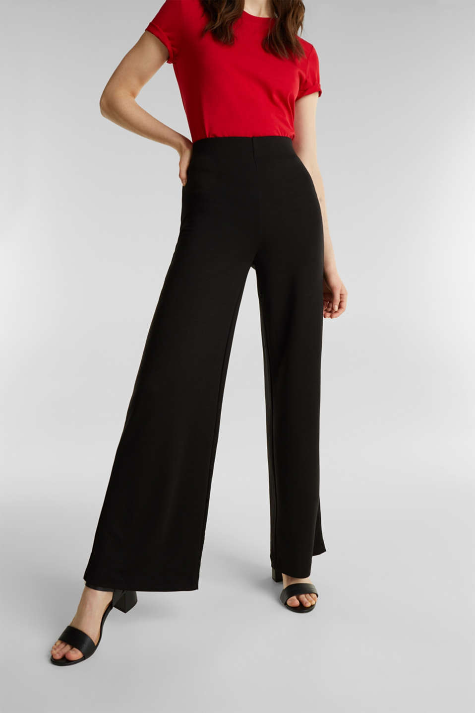 Jersey trousers with a wide leg, BLACK, detail image number 2