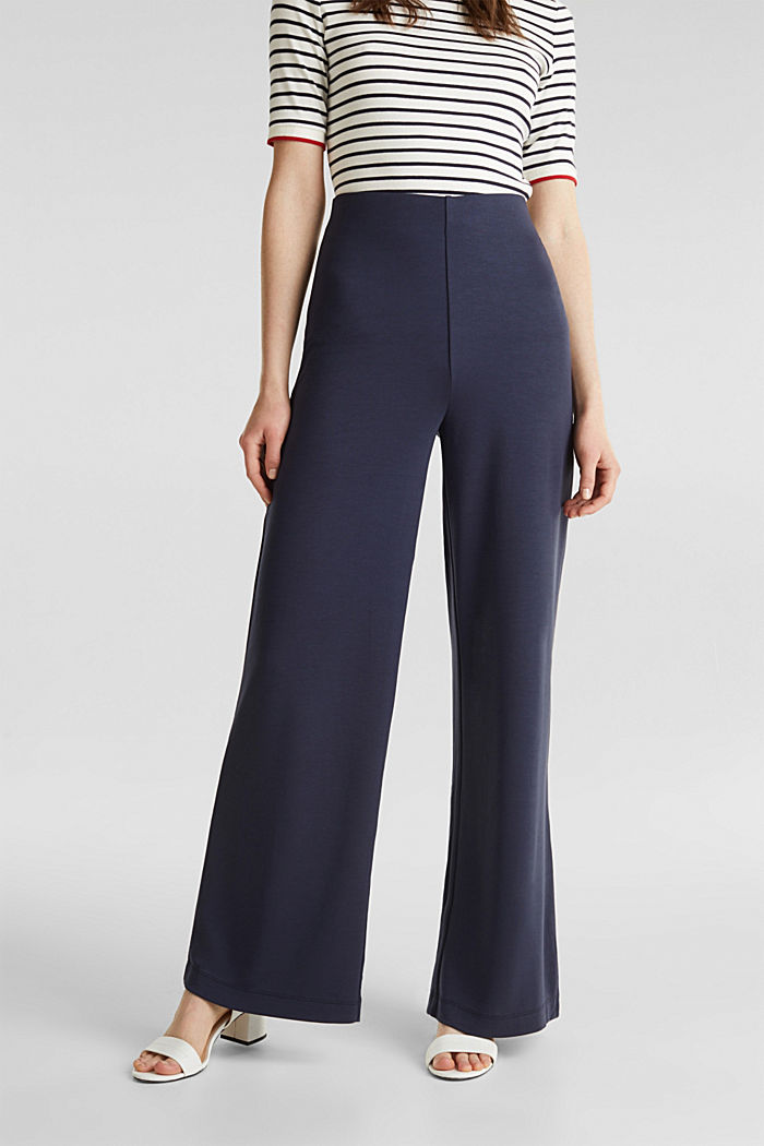 Jersey trousers with a wide leg, NAVY, detail image number 0