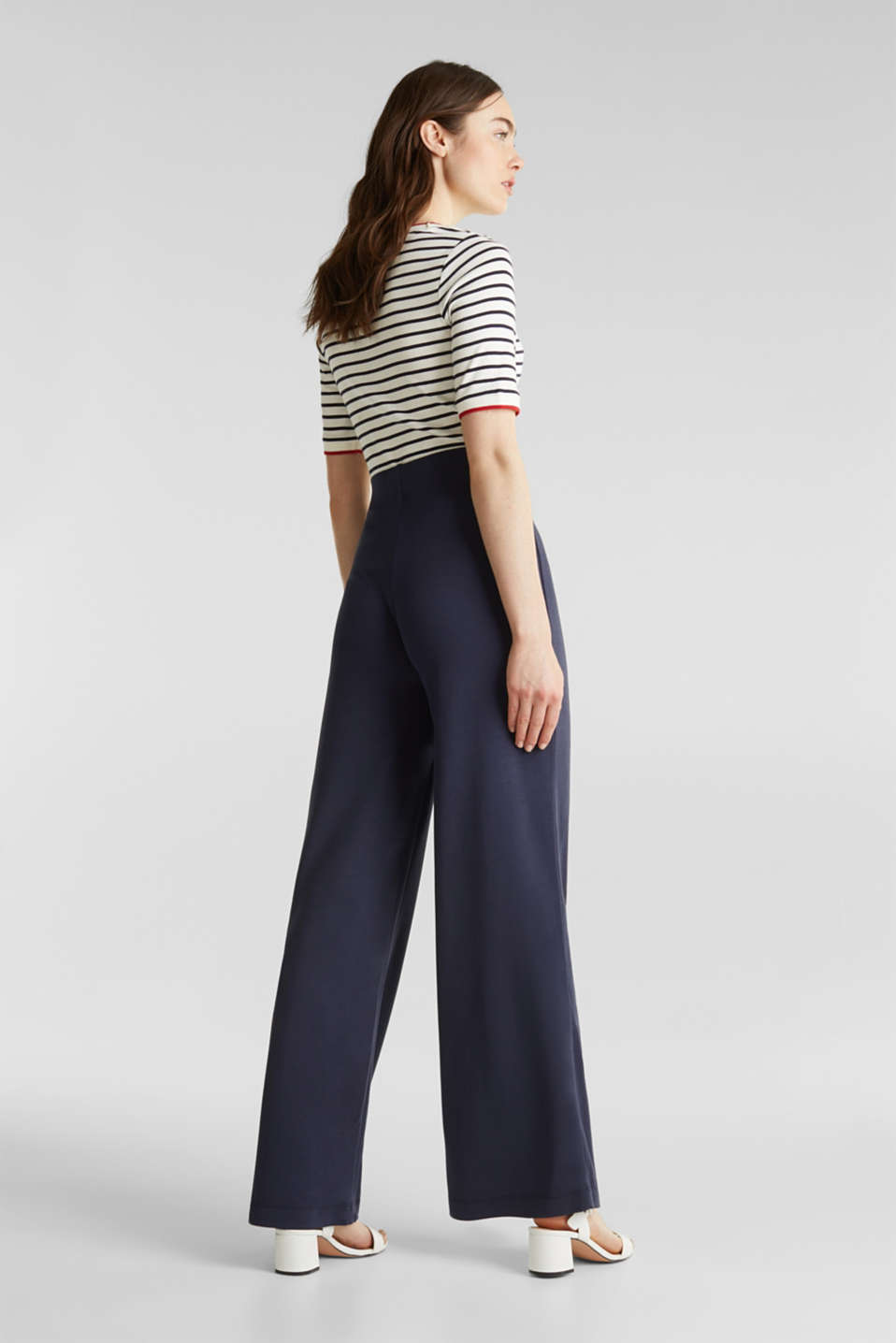Jersey trousers with a wide leg, NAVY, detail image number 3
