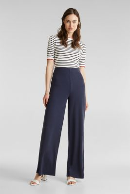 Jersey trousers with a wide leg, NAVY, detail