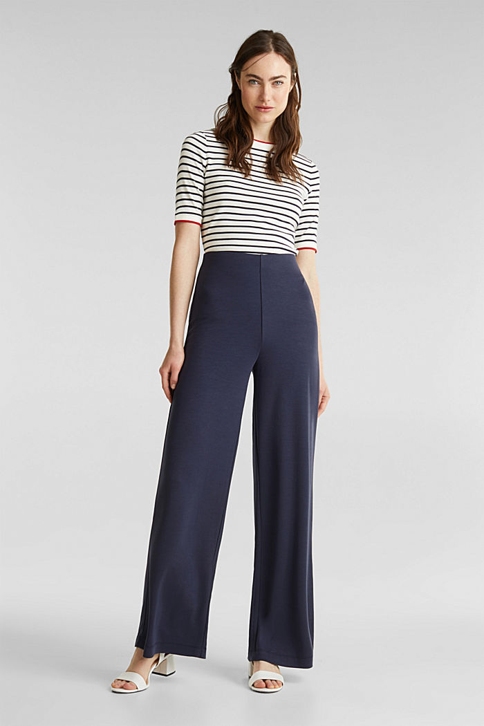 Jersey trousers with a wide leg, NAVY, detail image number 1