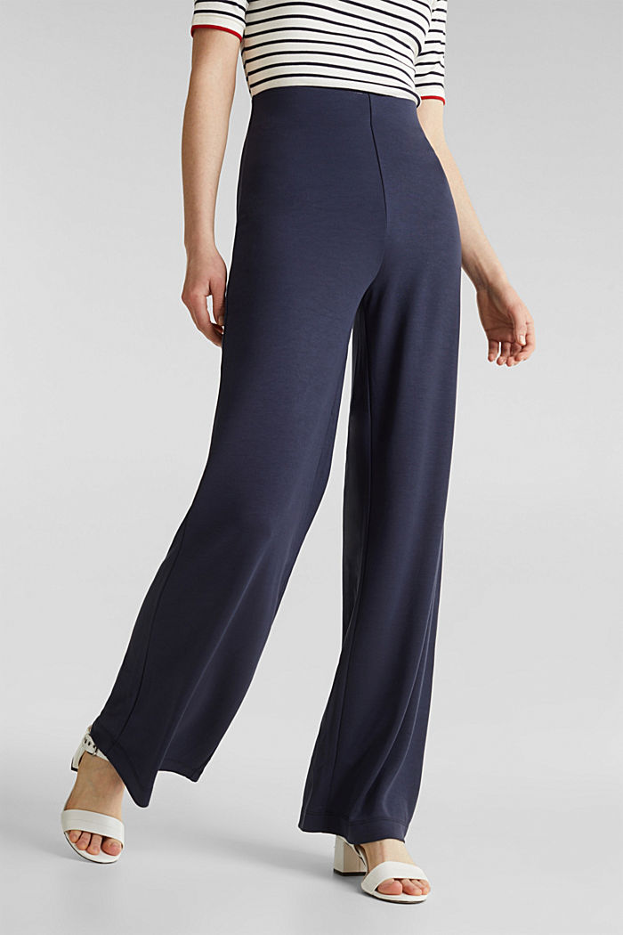 Jersey-Pants mit weitem Bein, NAVY, detail image number 2