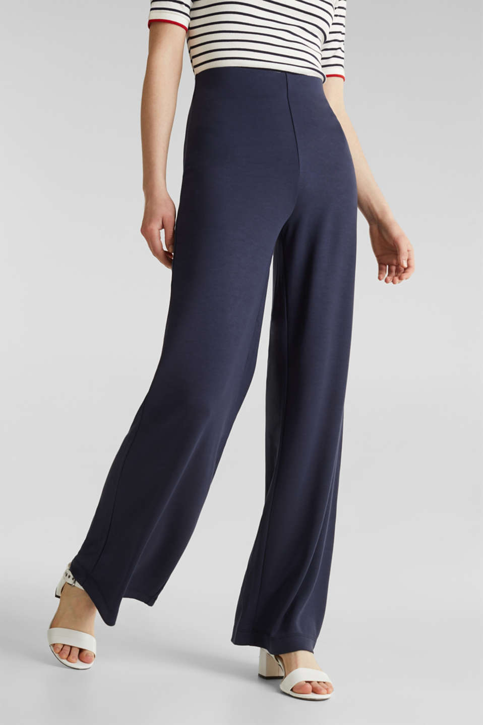 Jersey trousers with a wide leg, NAVY, detail image number 2