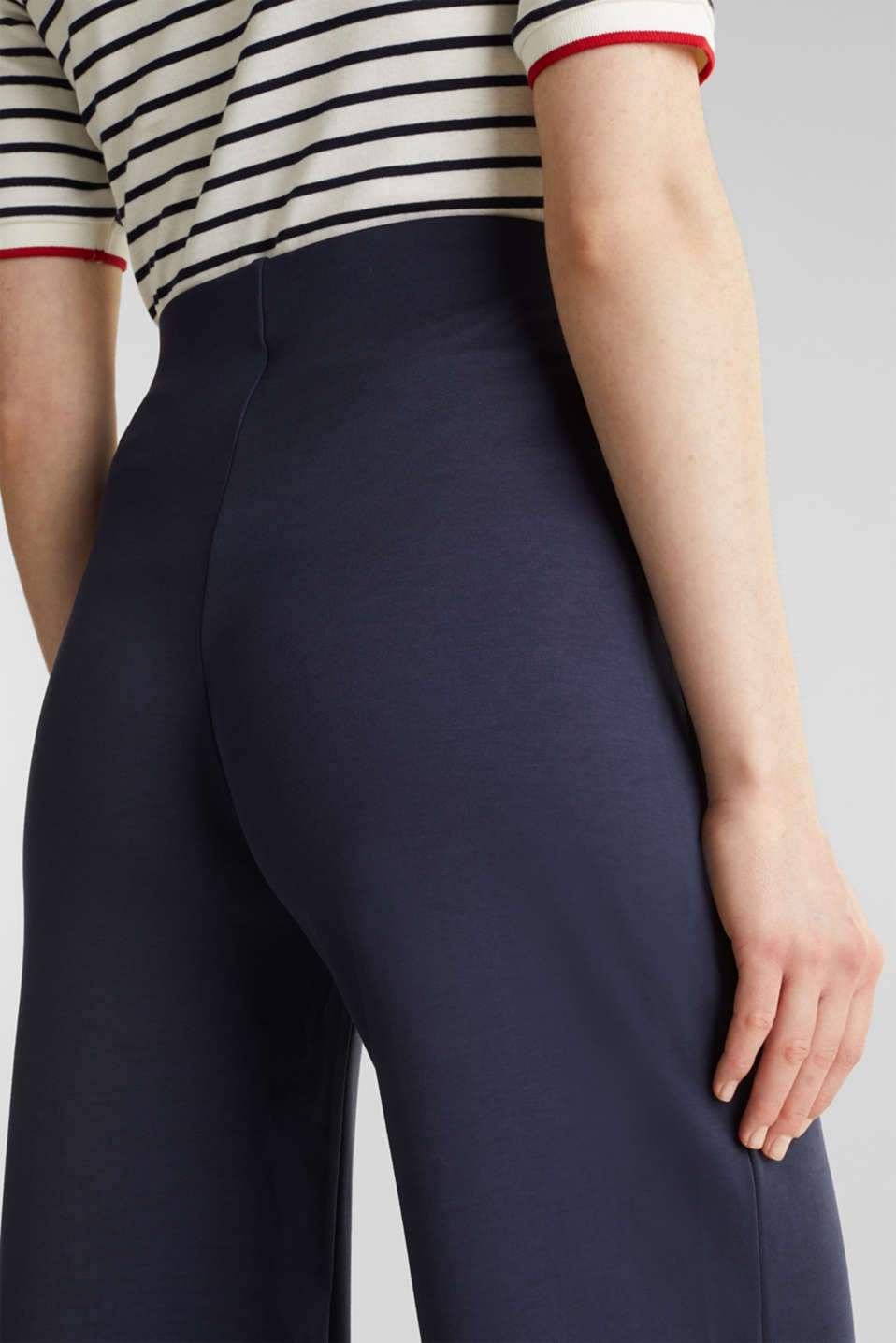 Jersey trousers with a wide leg, NAVY, detail image number 5