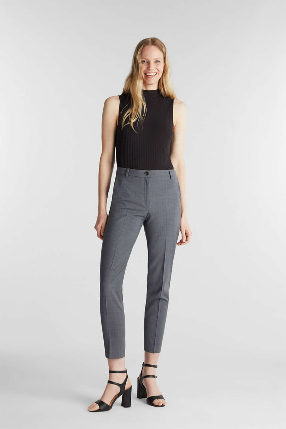 With wool: ACTIVE Mix + Match stretch trousers, GREY 5, detail image number 1