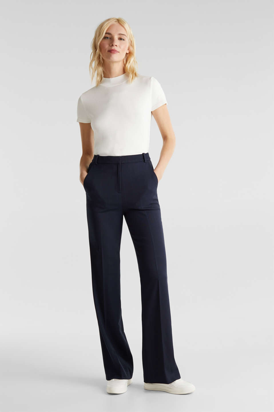 Esprit - HERRINGBONE Mix + Match stretch trousers