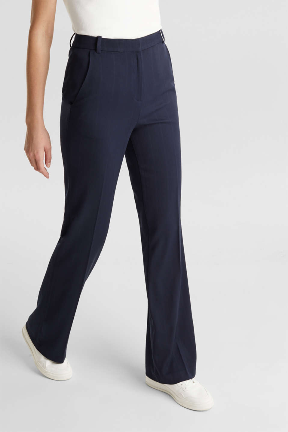 HERRINGBONE Mix + Match stretch trousers, NAVY, detail image number 6