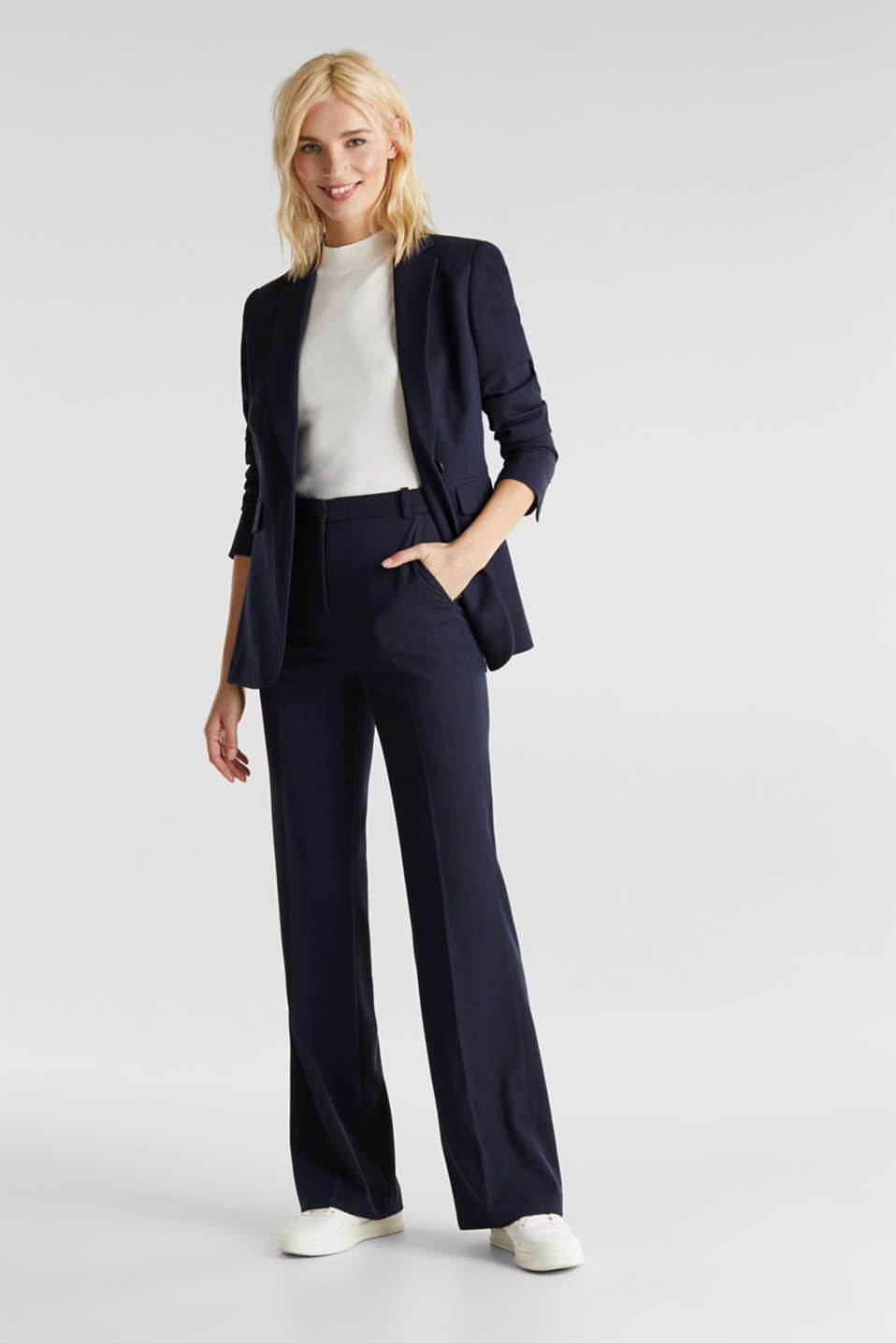 HERRINGBONE Mix + Match stretch trousers, NAVY, detail image number 1