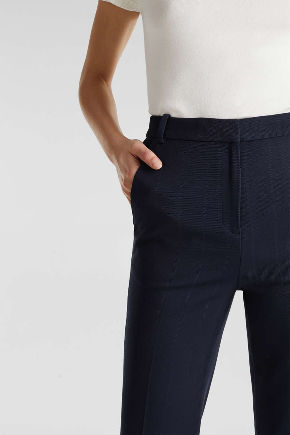HERRINGBONE Mix + Match stretch trousers, NAVY, detail image number 2