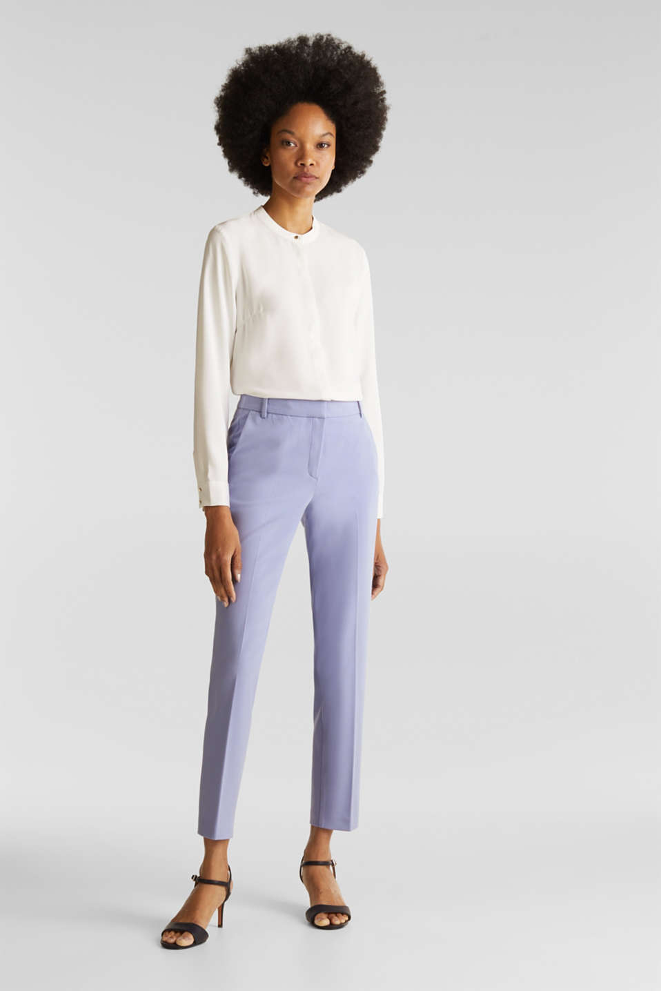 COLORED TWILL mix + match stretch trousers, BLUE LAVENDER, detail image number 0