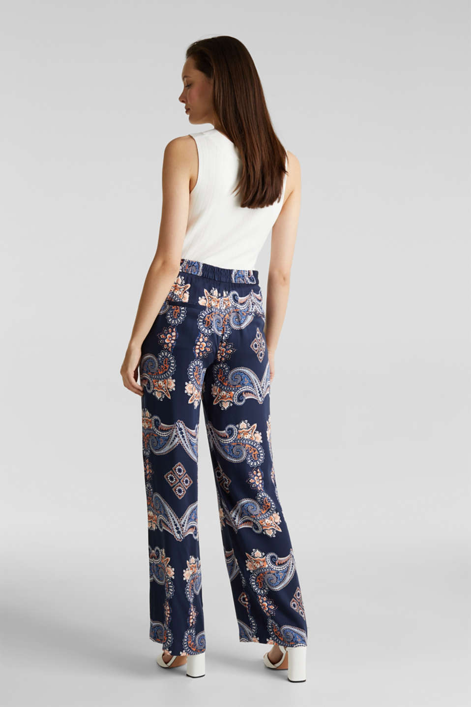 Flowing palazzo trousers with a print, NAVY 4, detail image number 3