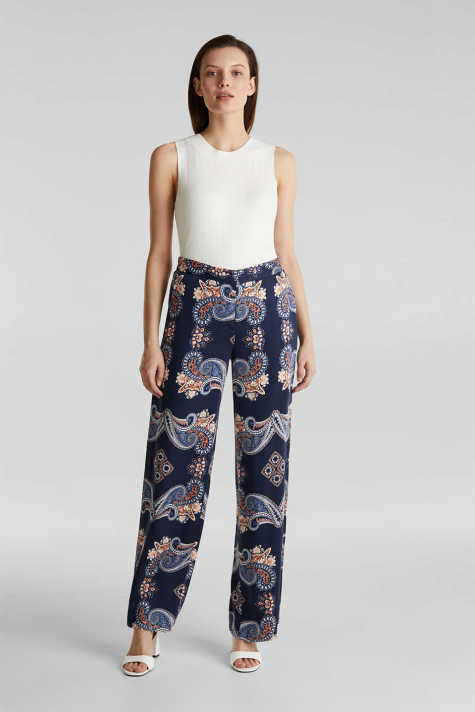 Flowing palazzo trousers with a print, NAVY 4, detail image number 1