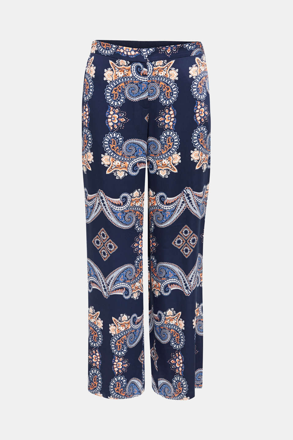 Flowing palazzo trousers with a print, NAVY 4, detail image number 6