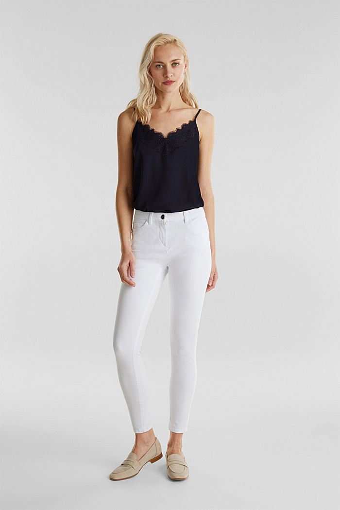With TENCEL™: bi-stretch trousers, WHITE, detail image number 0