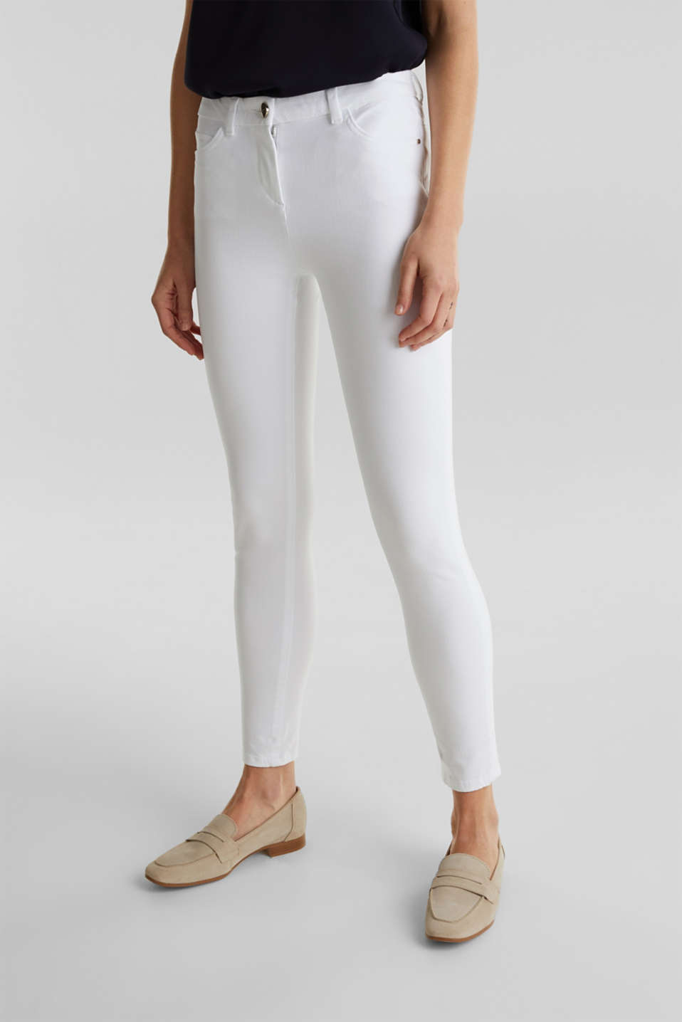With TENCEL™: bi-stretch trousers, WHITE, detail image number 6
