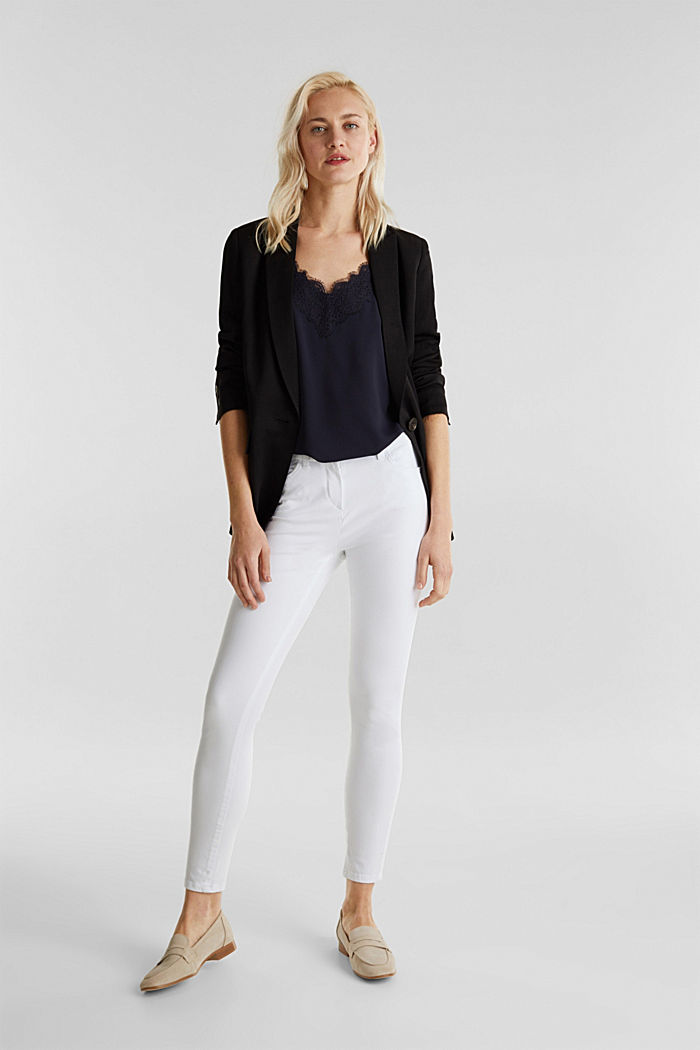 With TENCEL™: bi-stretch trousers, WHITE, detail image number 1
