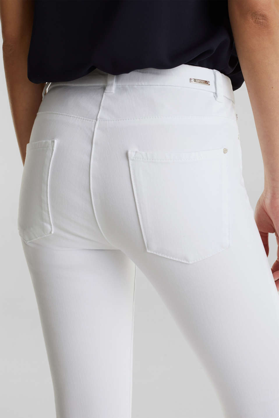 With TENCEL™: bi-stretch trousers, WHITE, detail image number 5