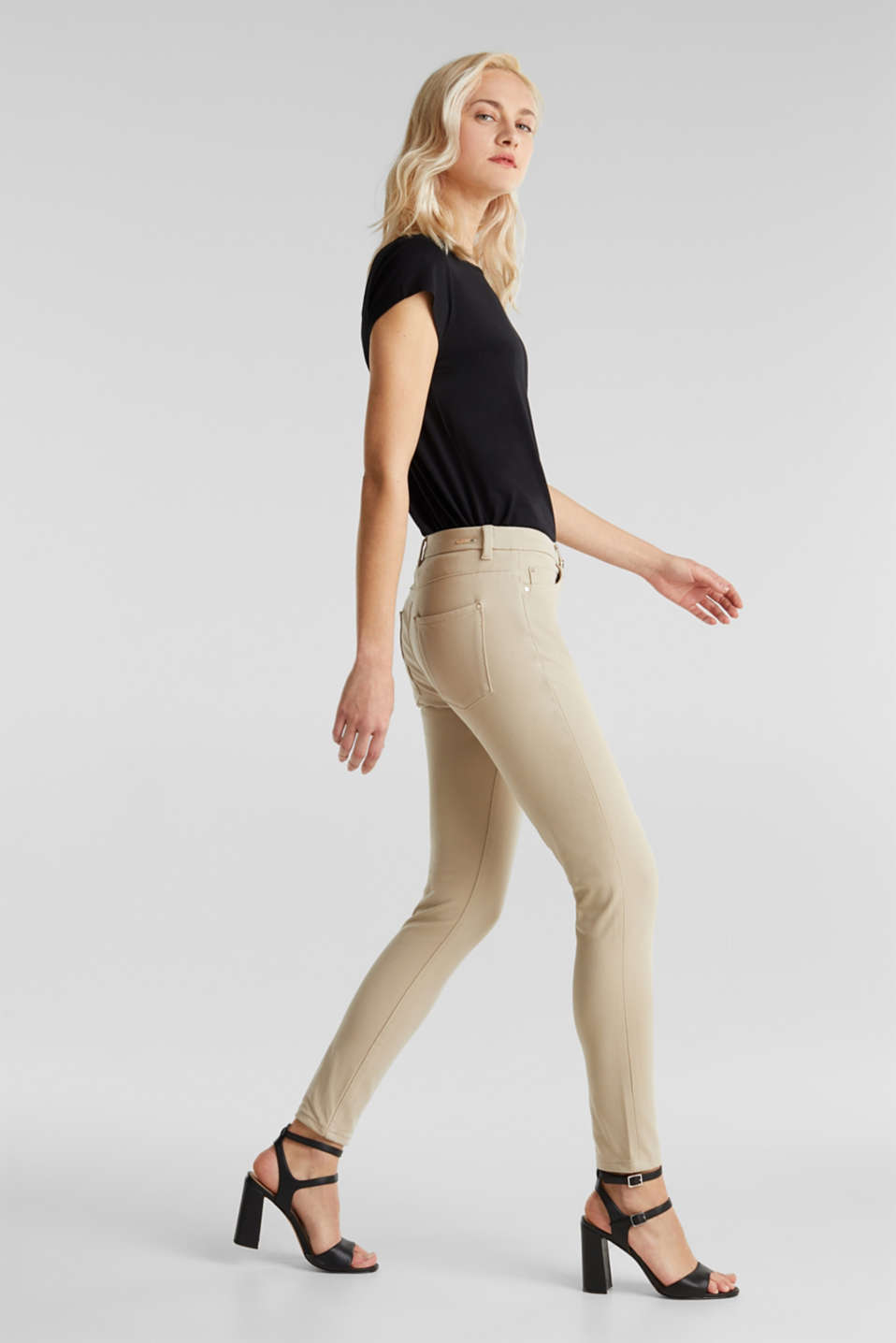With TENCEL™: bi-stretch trousers, BEIGE, detail image number 0