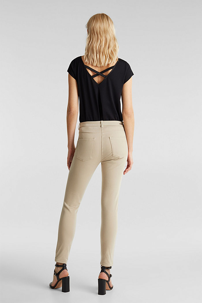With TENCEL™: bi-stretch trousers, BEIGE, detail image number 3