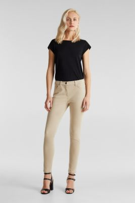 With TENCEL™: bi-stretch trousers, BEIGE, detail