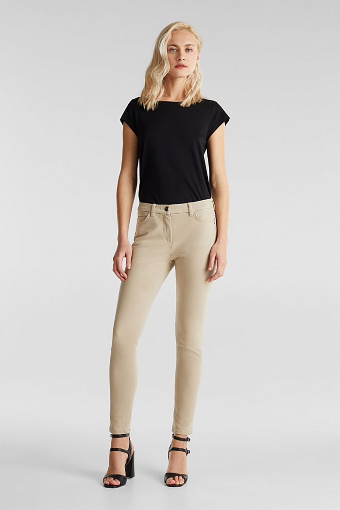 With TENCEL™: bi-stretch trousers, BEIGE, detail image number 1