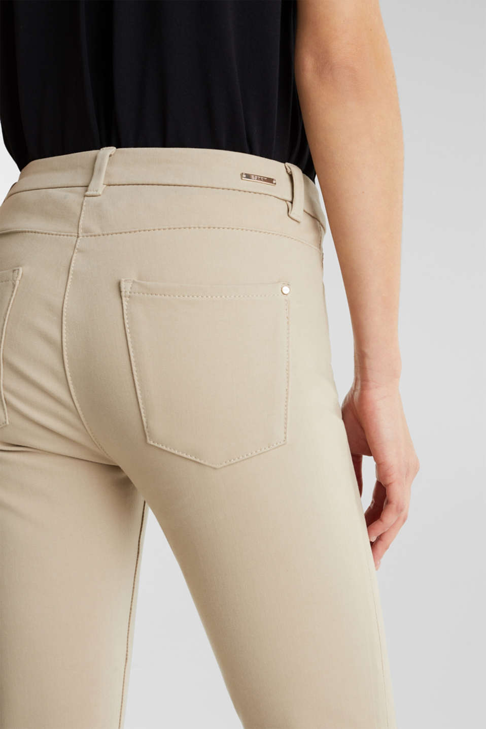 With TENCEL™: bi-stretch trousers, BEIGE, detail image number 5
