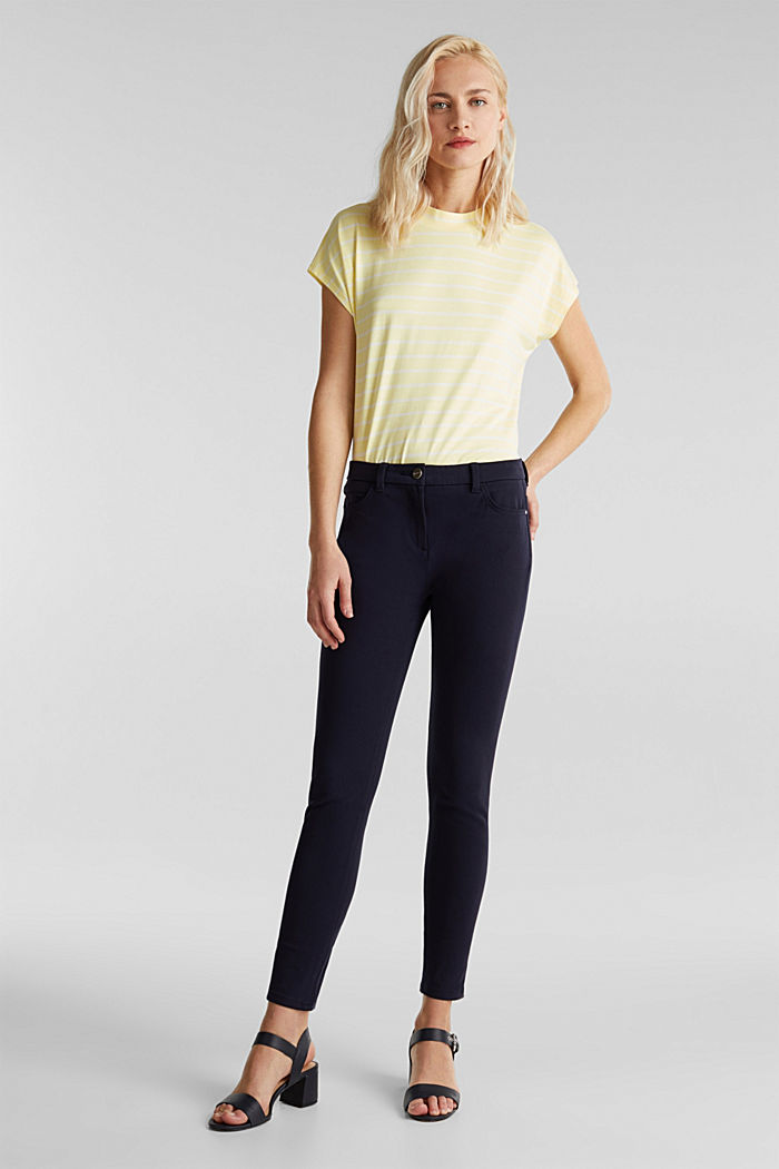 With TENCEL™: bi-stretch trousers, NAVY, detail image number 0