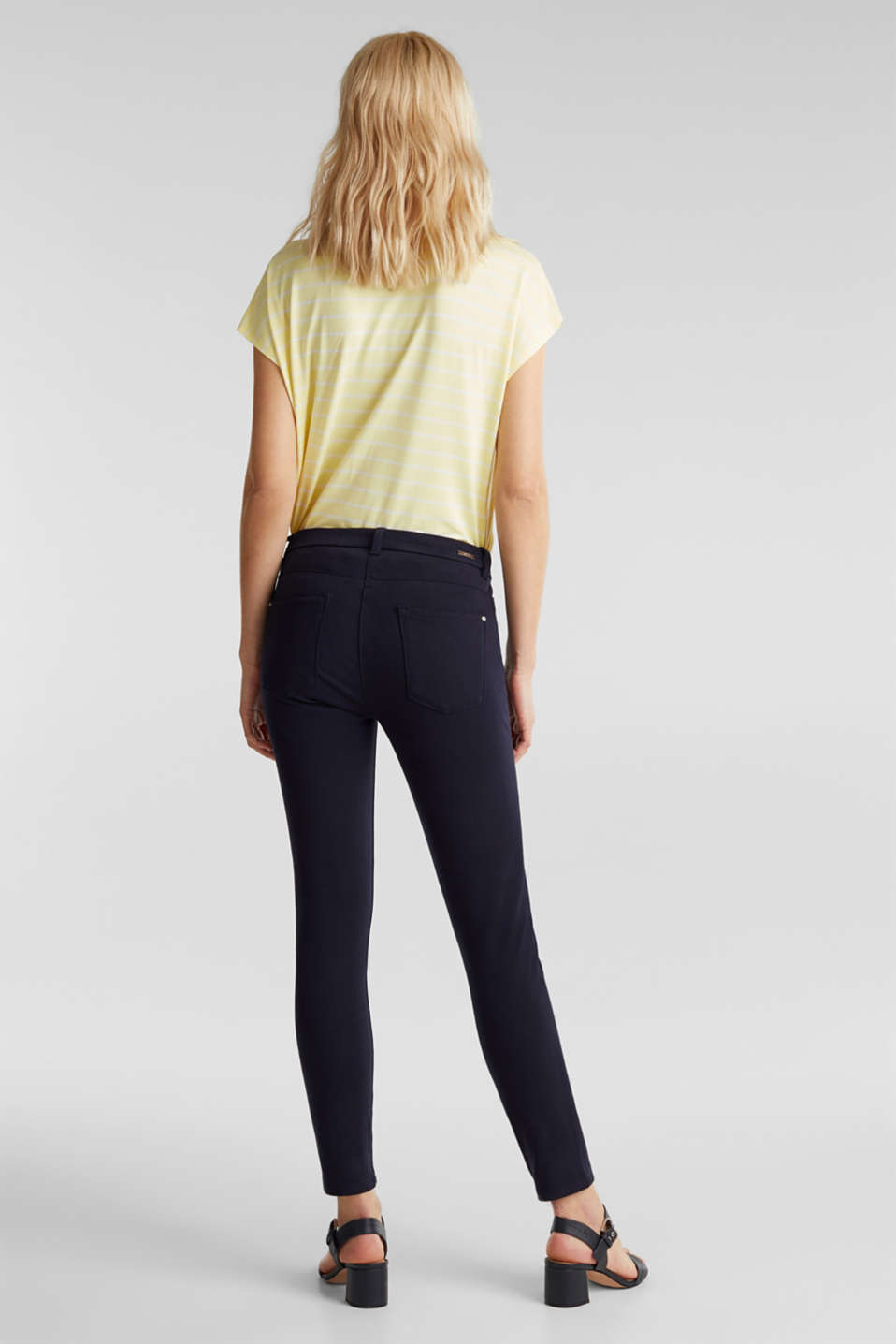 With TENCEL™: bi-stretch trousers, NAVY, detail image number 3