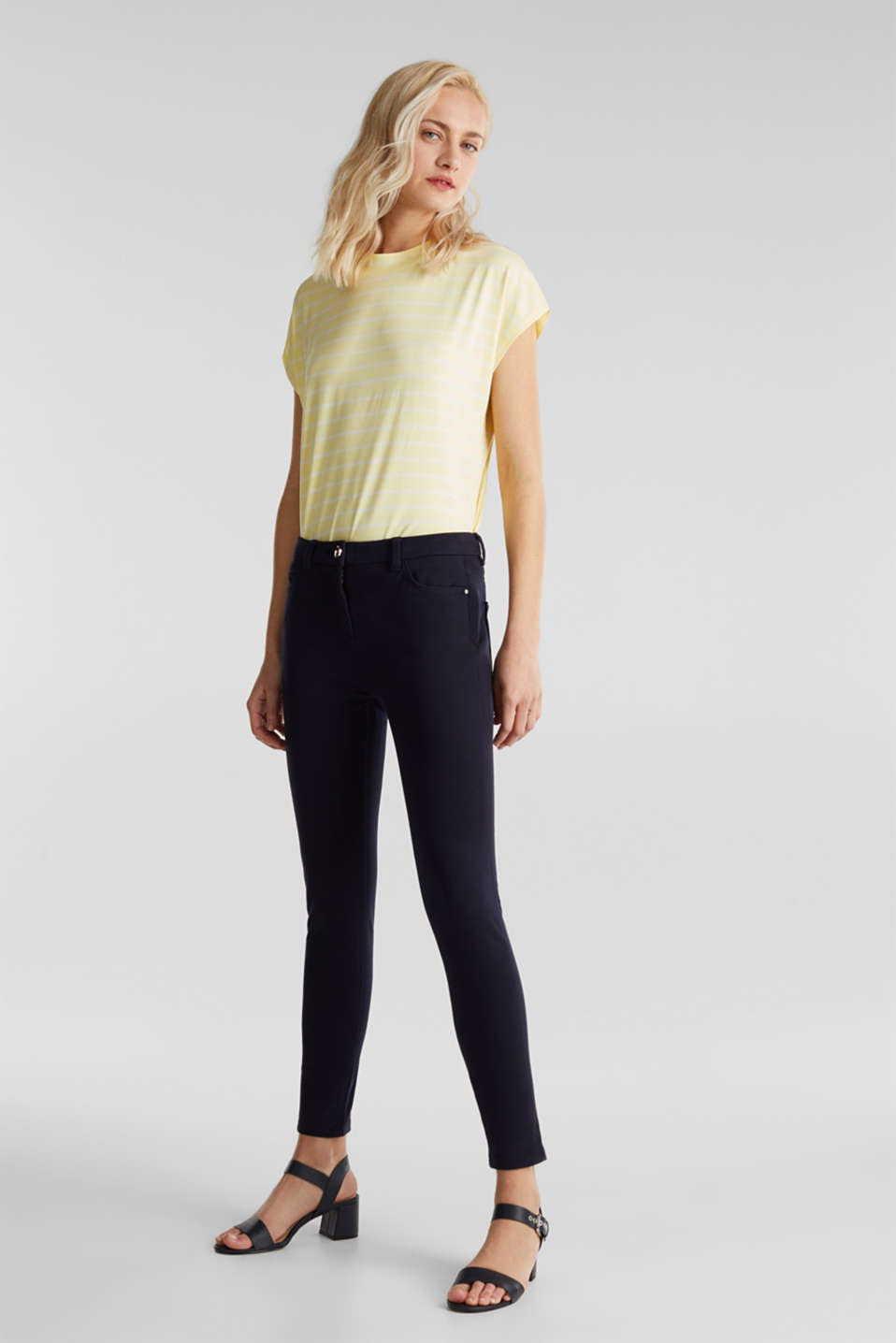 With TENCEL™: bi-stretch trousers, NAVY, detail image number 1