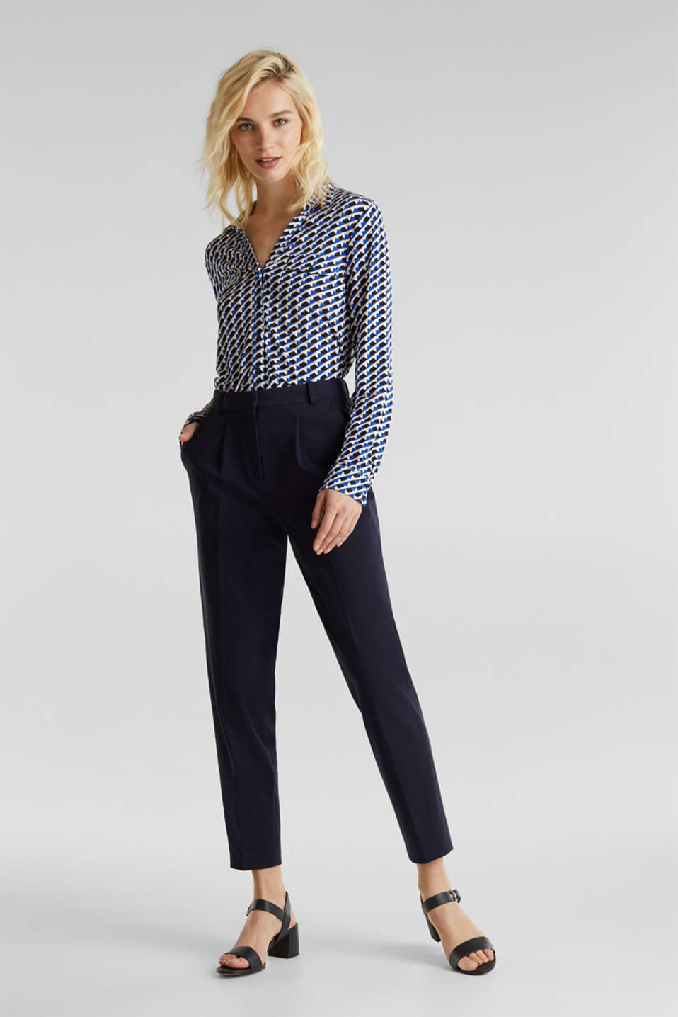 MODERN Mix + Match trousers with a high-rise waist, NAVY, detail image number 0