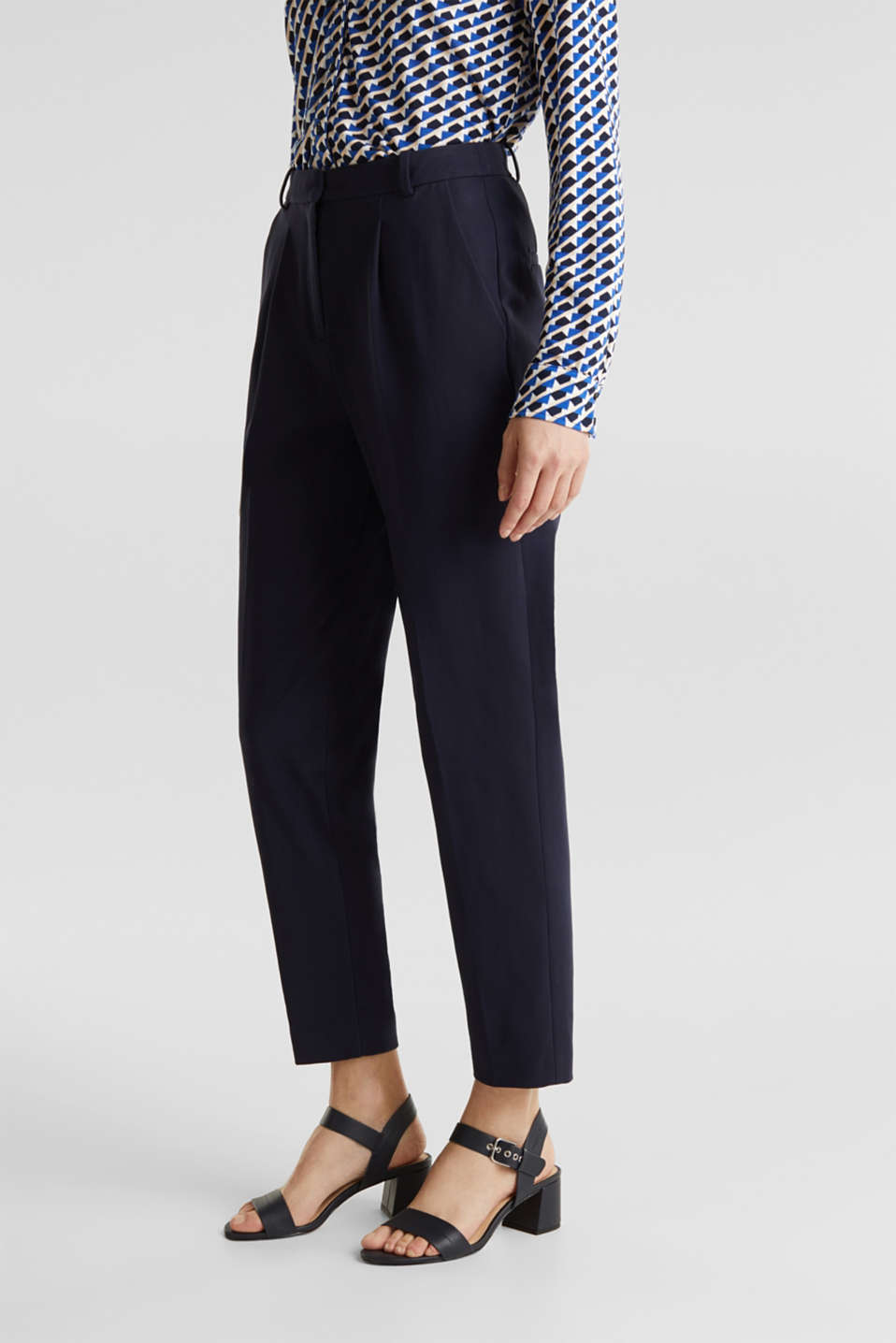 MODERN Mix + Match trousers with a high-rise waist, NAVY, detail image number 6