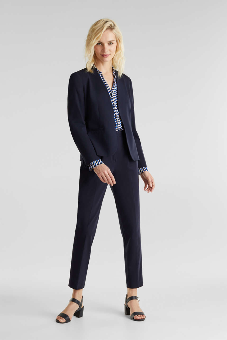 MODERN Mix + Match trousers with a high-rise waist, NAVY, detail image number 1