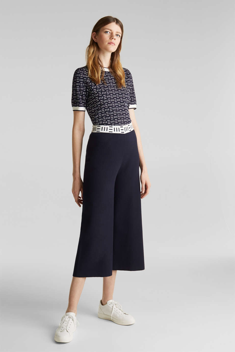 Knit culottes with a logo waistband, NAVY, detail image number 0