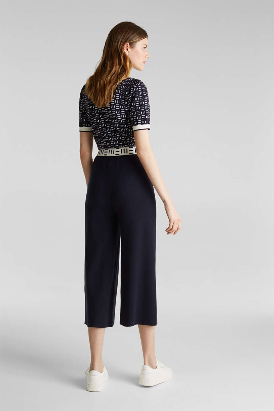 Knit culottes with a logo waistband, NAVY, detail image number 3