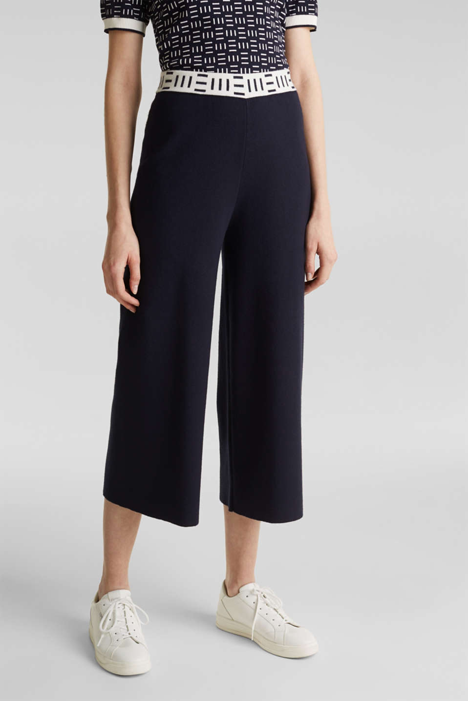 Knit culottes with a logo waistband, NAVY, detail image number 6