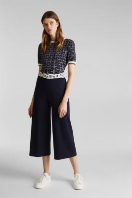 Knit culottes with a logo waistband, NAVY, detail