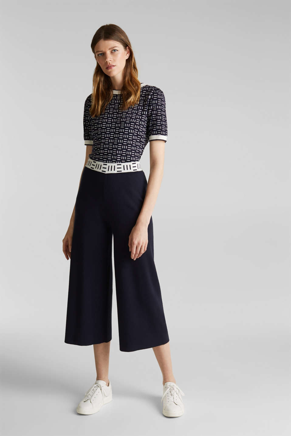 Knit culottes with a logo waistband, NAVY, detail image number 1