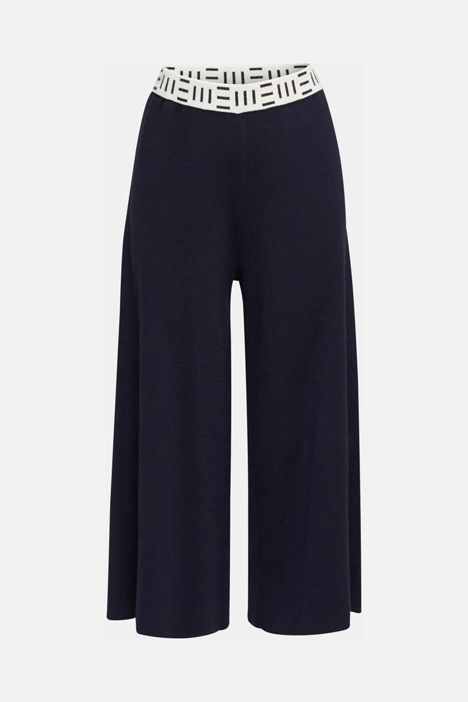 Knit culottes with a logo waistband, NAVY, detail image number 7