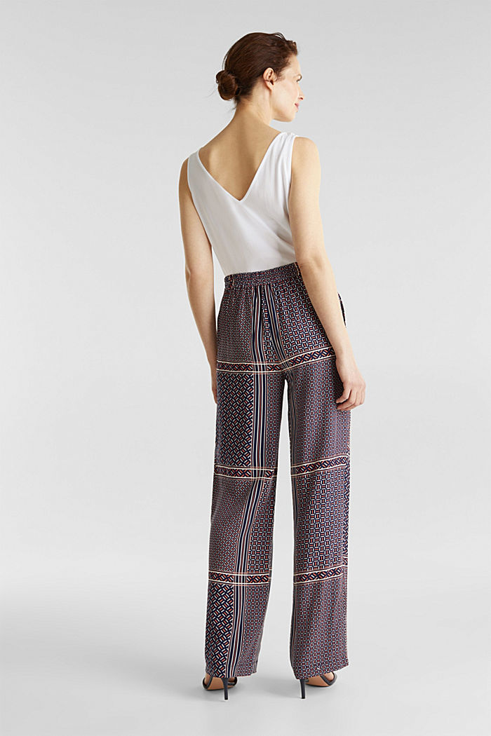 Palazzo Trousers with a modern tribal print, NAVY, detail image number 2